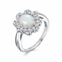 Серебряное кольцо с янтарём и фианитом 130118