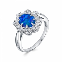 Серебряное кольцо с агатом и фианитом 130119