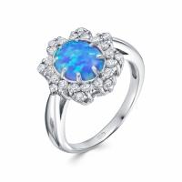 Серебряное кольцо с агатом и фианитом 130120